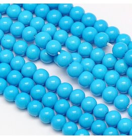 8mm Round Glass Pearl  Sky Blue approx  x50