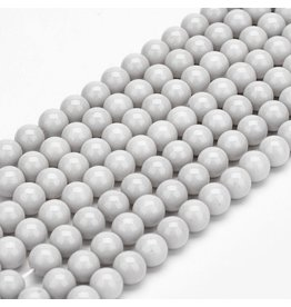 6mm Round Glass Pearl  Light Grey approx  x70