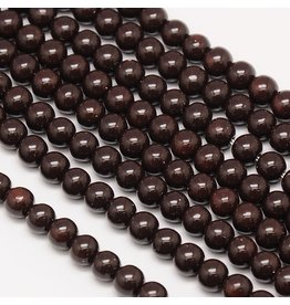 6mm Round Glass Pearl  Dark Brown approx  x70