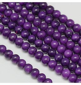 6mm Round Glass Pearl  Dark Purple approx  x70
