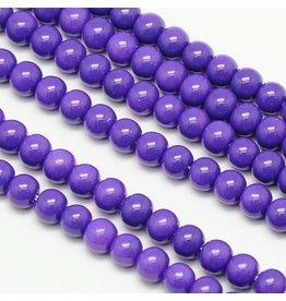 6mm Round Glass Pearl  Medium Purple approx  x70