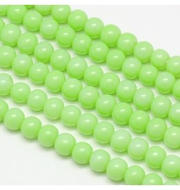 6mm Round Glass Pearl  Light Green approx  x70