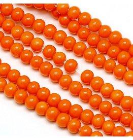 6mm Round Glass Pearl  Orange approx  x70