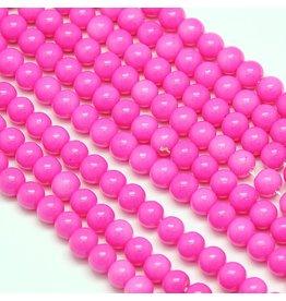 6mm Round Glass Pearl Medium Pink approx  x70
