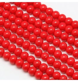 6mm Round Glass Pearl Cerise Red  approx  x70