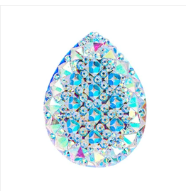 Spiky Drop Resin Cabochon 20x30mm Clear AB  x5