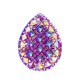 Spiky Drop Resin Cabochon 20x30mm Pink AB  x5