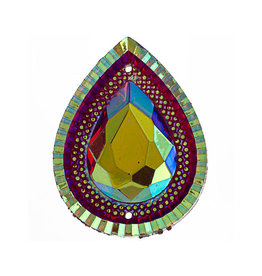Drop Resin Cabochon 30x40mm Red AB  x6