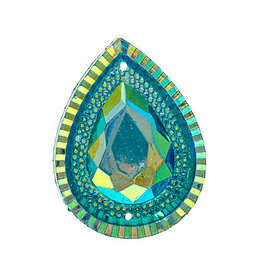 Drop Resin Cabochon 30x40mm Turquoise Blue AB  x6