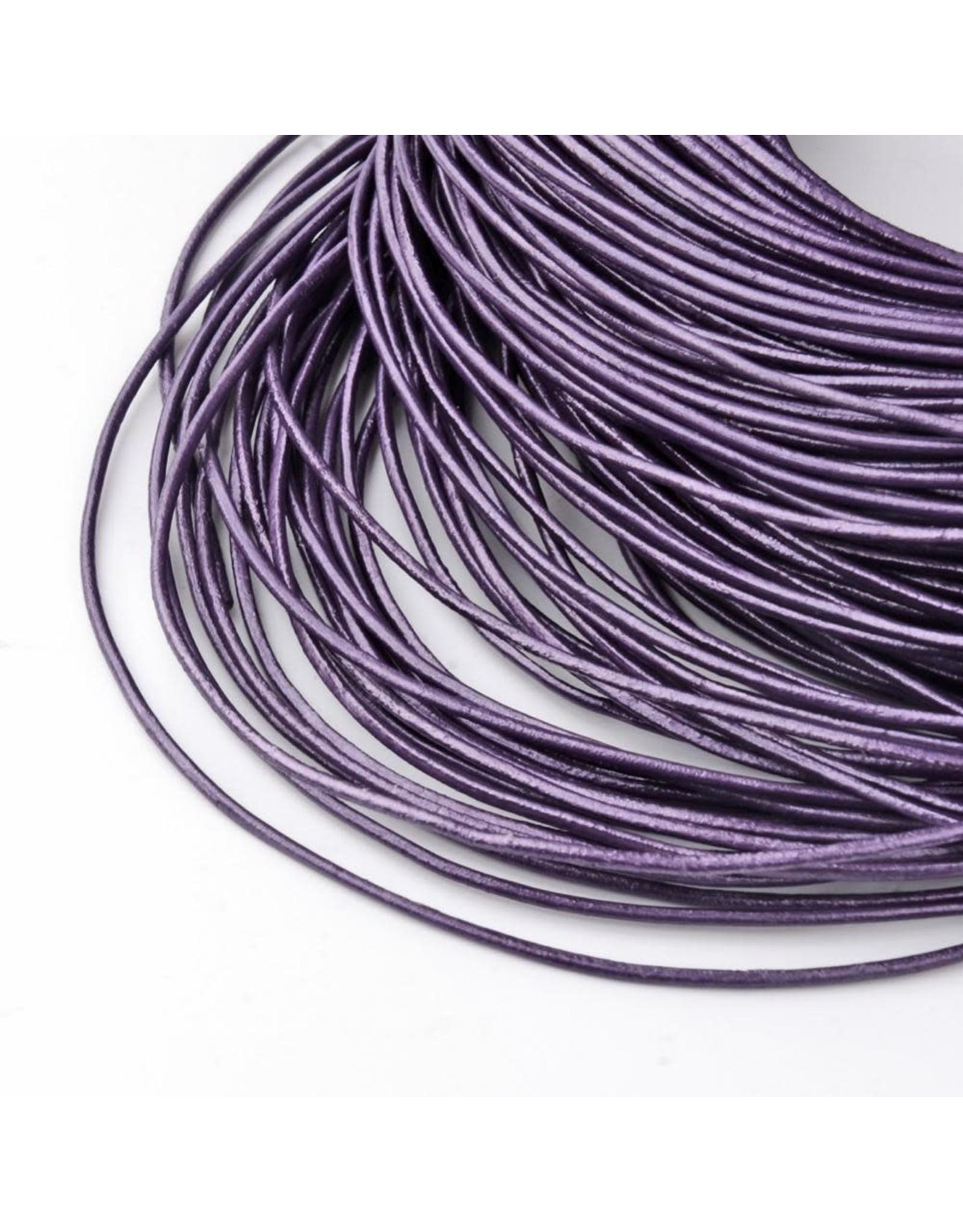 213sb 2mm Leather Mauve Purple Metallic 10 meter