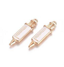 Vaccine Needle Pendant 30x8mm White Gold x2