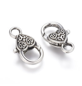 Lobster Clasp 25x14mm Antique Silver  x5 NF