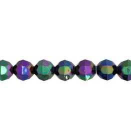 Faceted Round  6mm Black AB  x500