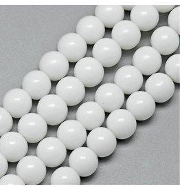 4mm Round   Opaque White  x80