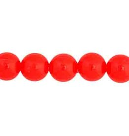 Round  8mm Opaque Neon Red x50