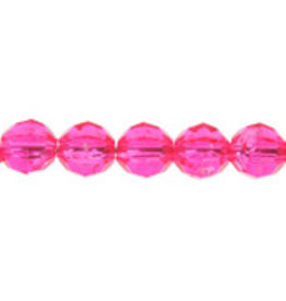 Faceted Round  6mm Transparent  Fuchsia Pink  x500