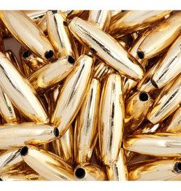 Spaghetti Beads 19x6mm Gold Metallic x125