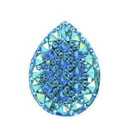 Spiky Drop Resin Cabochon 20x30mm Turquoise Blue AB  x5