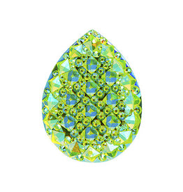 Spiky Drop Resin Cabochon 20x30mm Lime Green AB  x5