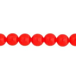 Round  6mm Opaque Neon Red  x100