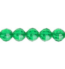Faceted Round  6mm Transparent Green  x500