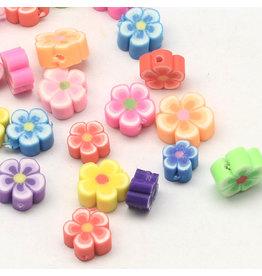 6-8mm Polymer Clay Flower Asst  x5pr