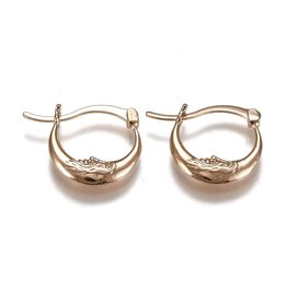 Hoop Earring  18x22mm Crescent Moon Stainless Steel  Gold  x1 Pair