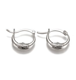 Hoop Earring  18x22mm Crescent Moon Stainless Steel   x1 Pair