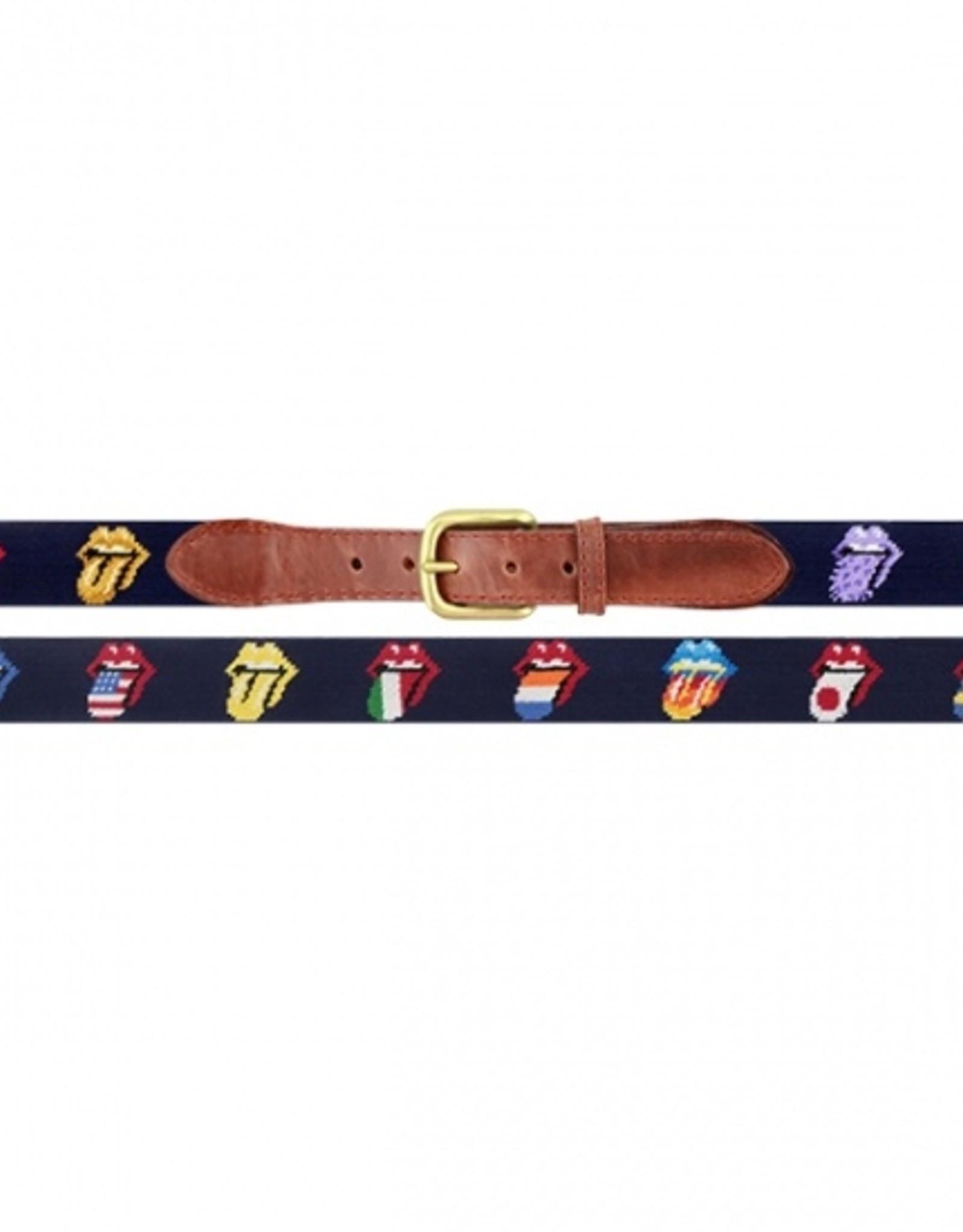 Smathers and Branson Rolling Stones Multi Lick Needlepoint Belt