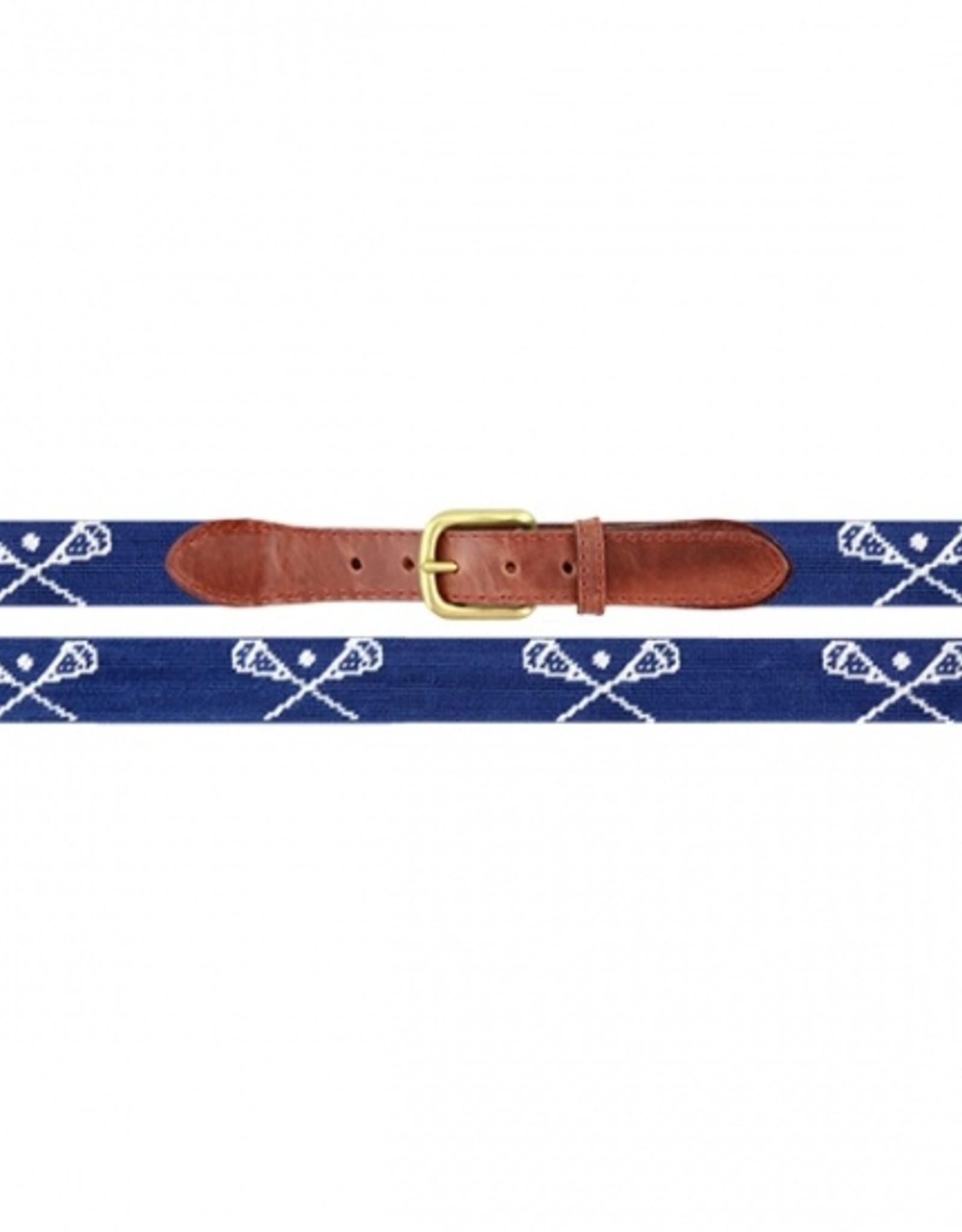 Smathers and Branson Crossed LAX Sticks Needlepoint Belt