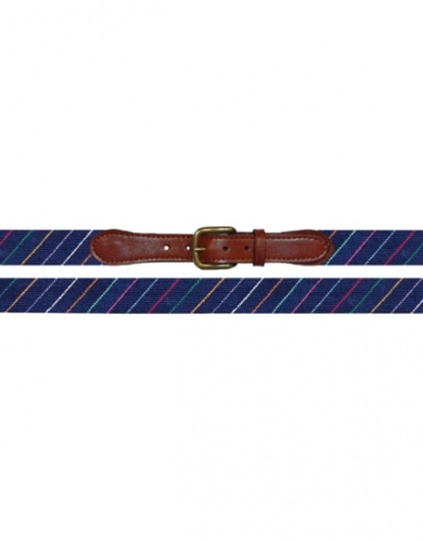Smathers and Branson Carter Stripe Needlepoint Belt