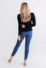 Karlie Solid V-Neck Slub Puffed Sleeve