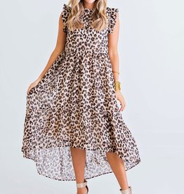 Karlie Leopard Chiffon Dress