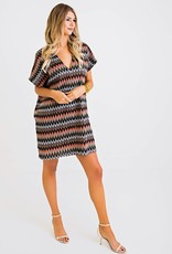 Karlie Jacquard Knit V-Neck Dress