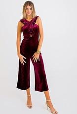 Karlie Karlie Snake Velvet Cross Front Ruffle Jumpsuit