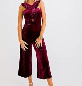 Karlie Snake Velvet Cross Front Ruffle Jumpsuit