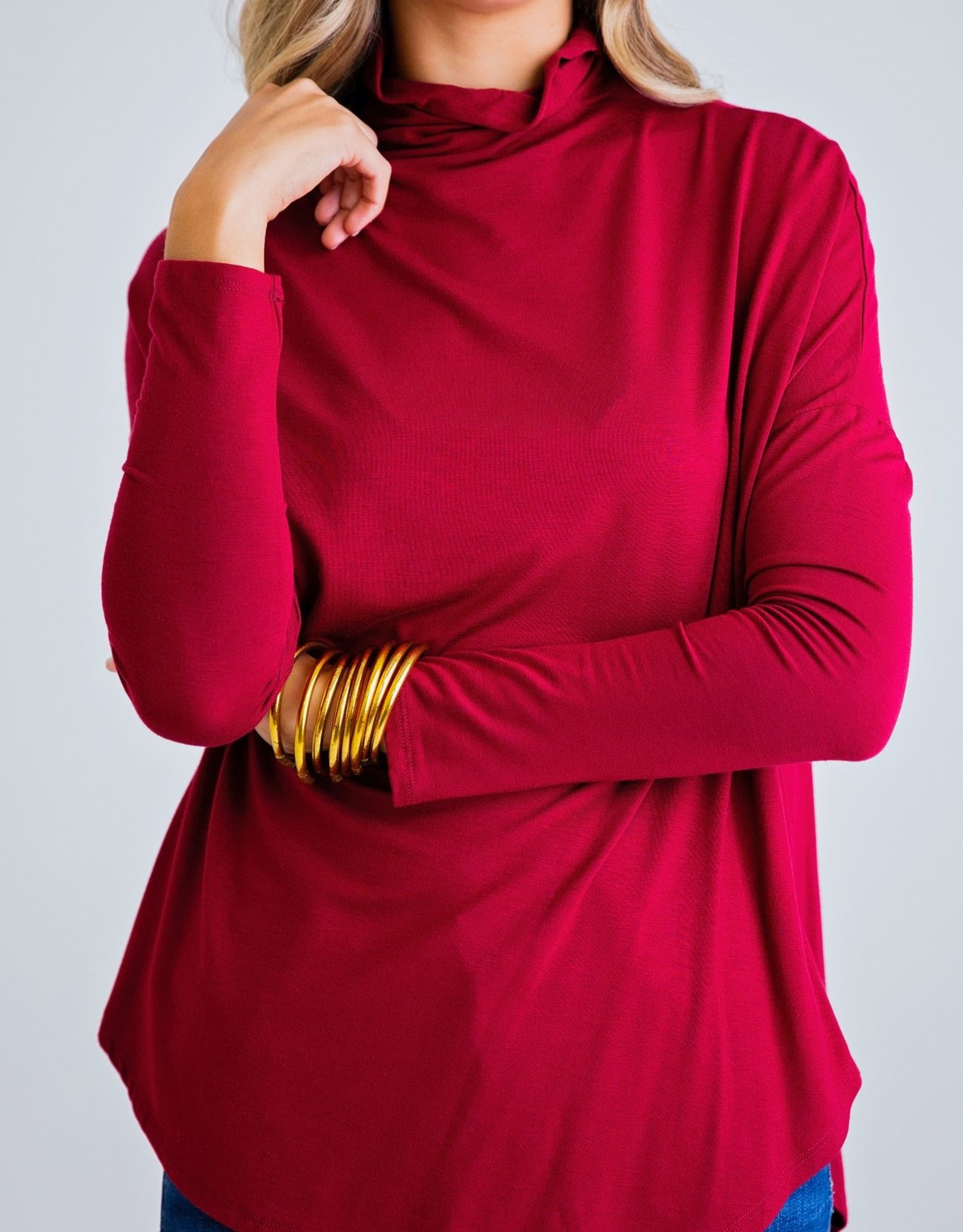 Karlie Solid Mock Oversized Knit Top
