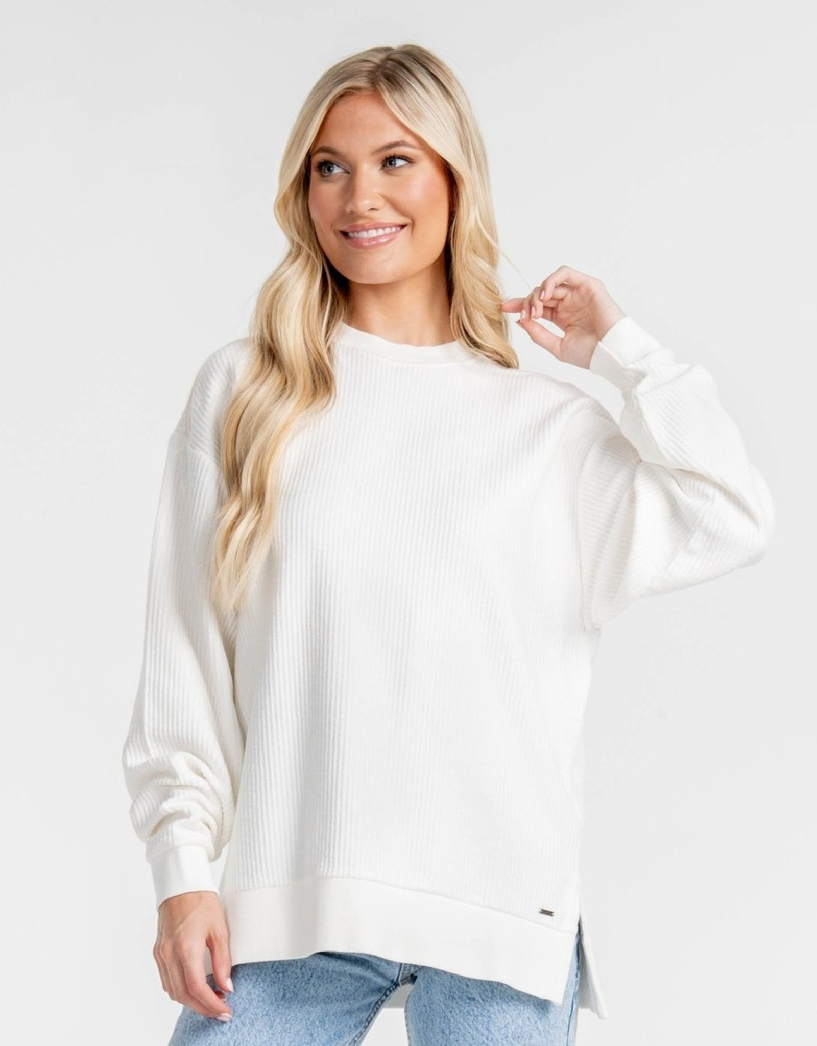 Southern Shirt Split Hem Cord Sweatshirt