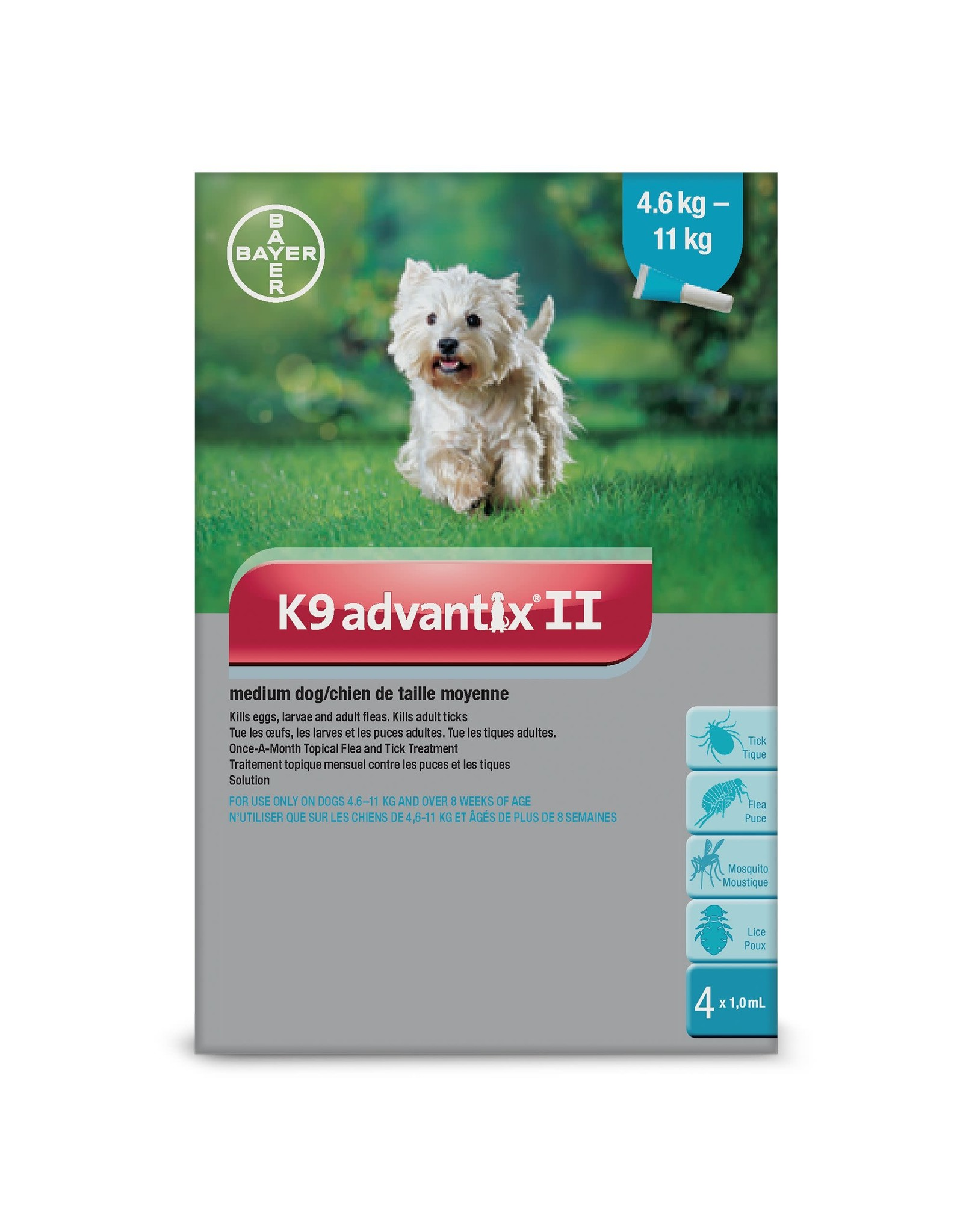 K9 Advantix II for Medium Dogs 4.6-11KG (4 doses)
