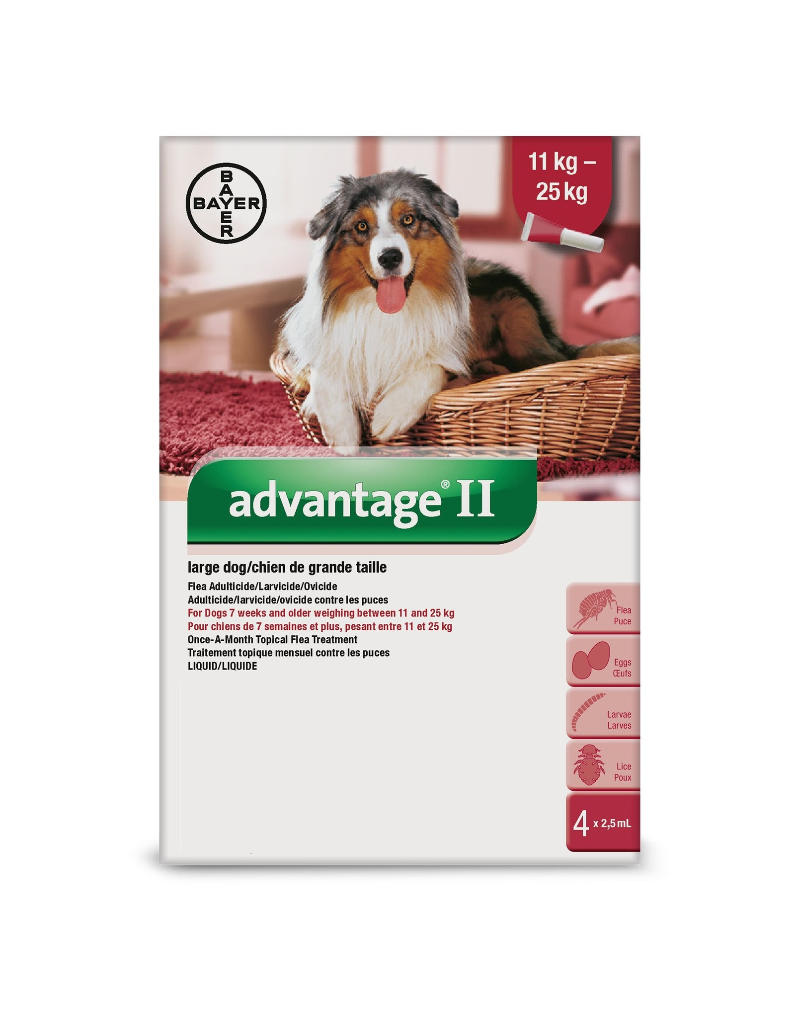 Advantage II for Large Dogs 11-25KG (4 doses)