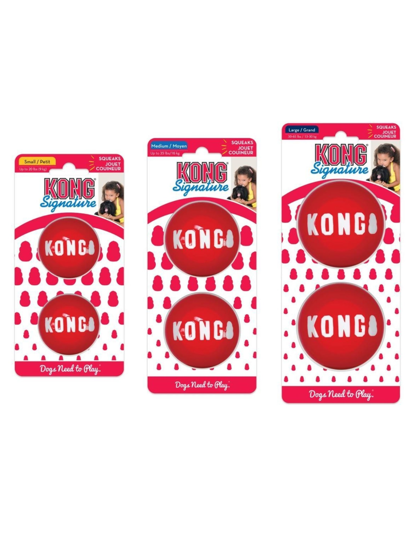 KONG SIGNATURE BALL LG RED 2PCK