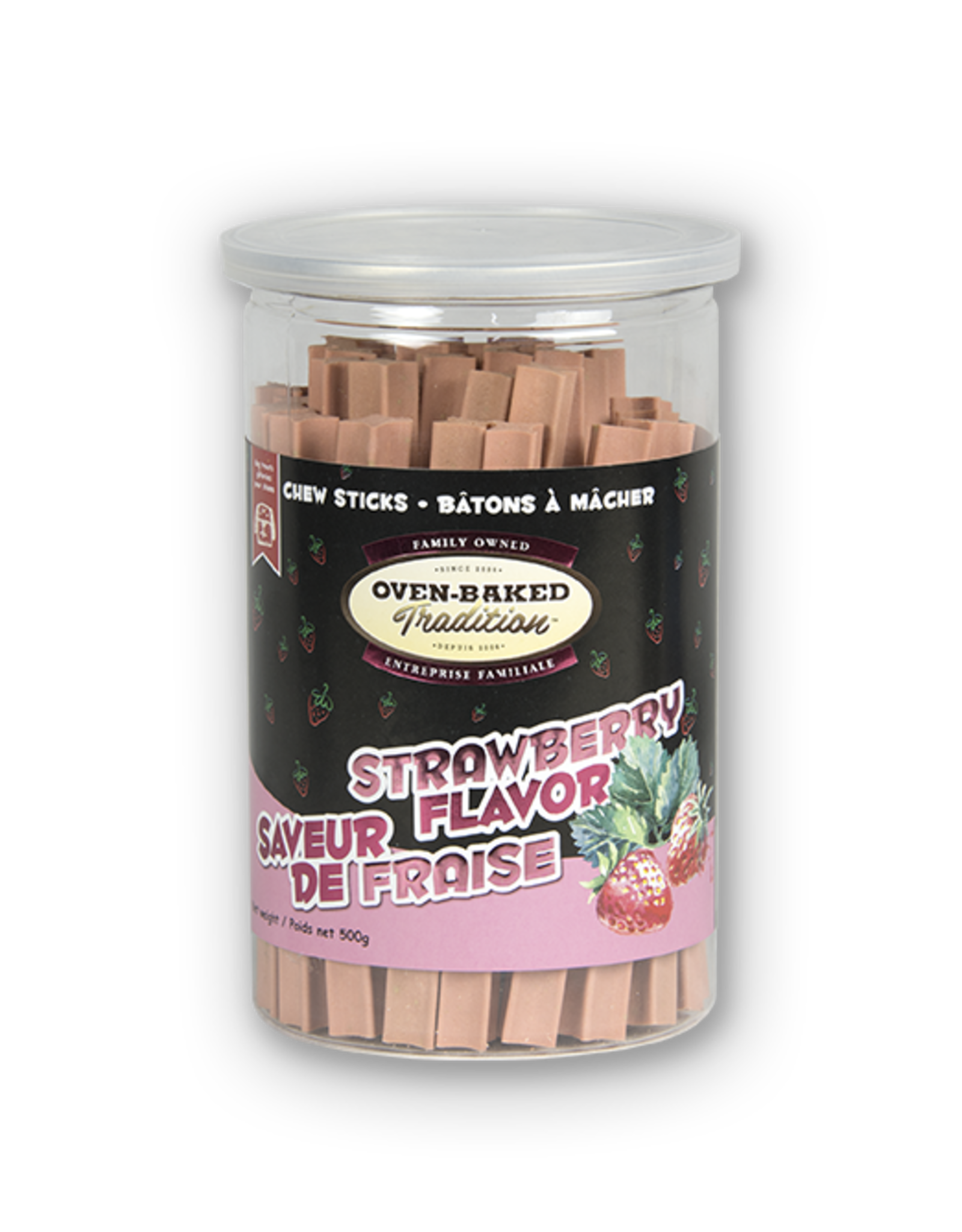 Oven Baked Oven Baked - Strawberry Flavour Chew Sticks 500g