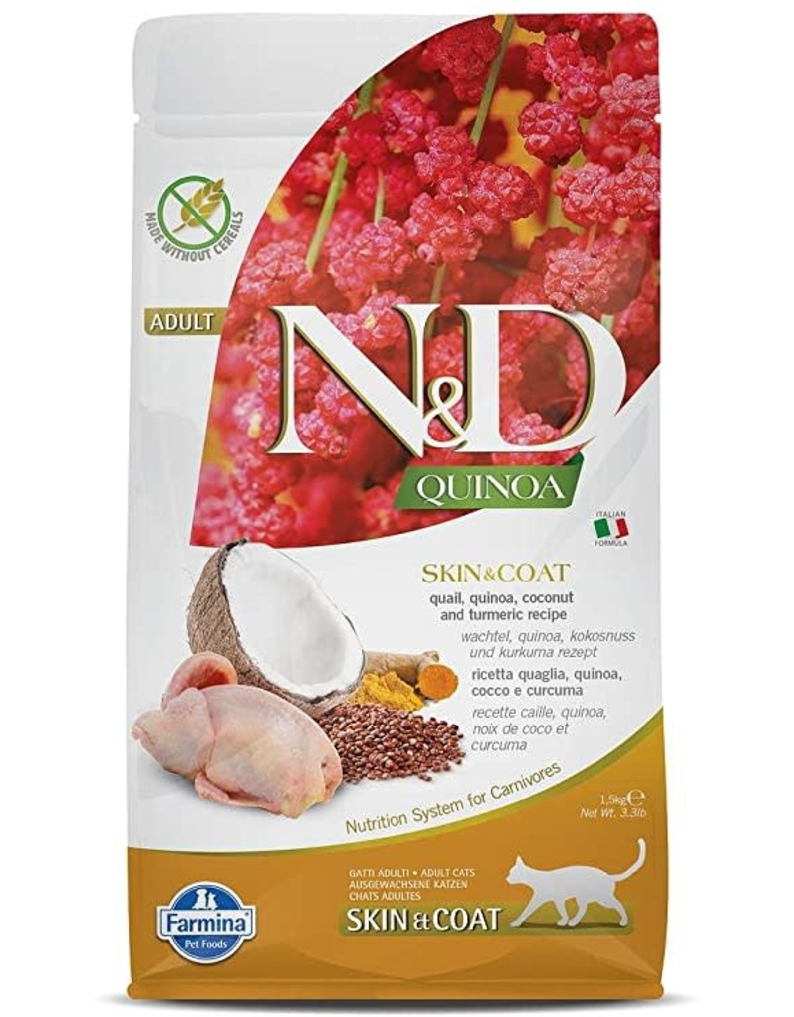 Farmina N&D Cat - Skin+Coat Quinoa, Quail, Coconut & Turmeric Adult 3.3lb