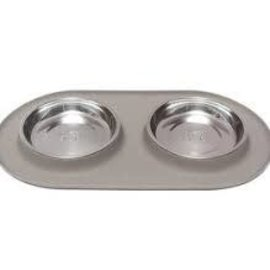 messy cats Messy Cats Double Silicone Feeder Gray