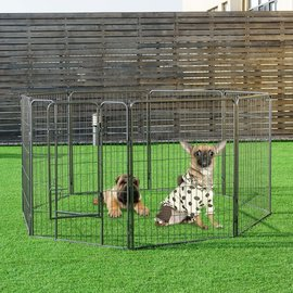 Smart Pet Love Exercise Pen 8 Panel Black Small 24in