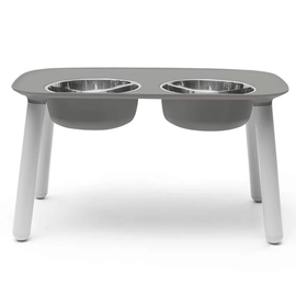 Messy Mutts Messy Mutts Elevated Double Feeder 3 Sizes (Grey)