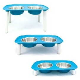 Messy Mutts Messy Mutts Elevated Double Feeder 3 Sizes (Blue)