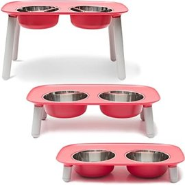 Messy Mutts Messy Mutts Elevated Double Feeder 3 Sizes (Red)