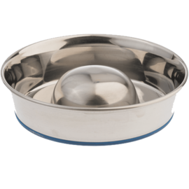 OurPets OurPets Stainless Steel Slow Feed Bowl - Dishwasher Safe, Holds 3 Cups of Kibble