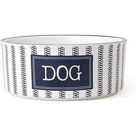 "petrageous Stoneware Bowl with Dog Label 5""  White & Navy"